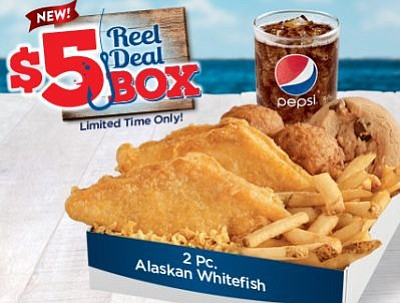 Long John Silver's has a $5 Reel Deal Box starting Tuesday, September 13, 2016.