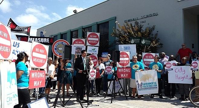 Councilman David Alvarez speaks outside Kimball Elementary in National City
