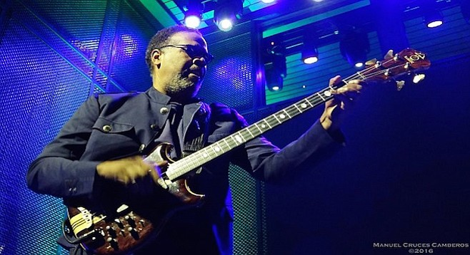 """Stanley Clarke urged everyone to stand as they ripped through a deliriously funky reading of """"Lopsy Lu."""" - Image by Manuel Cruces Camberos"""