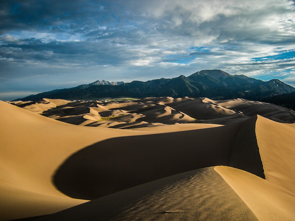 Early-morning view from atop one of the dunes at ​Great Sand Dunes National Park​.​