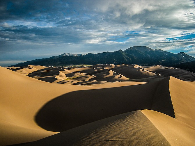 Early-morning view from atop one of the dunes at Great Sand Dunes National Park.