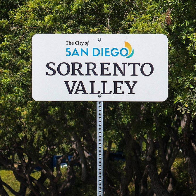 The city's new neighborhood signs extend Sorrento Valley east to Camino de Santa Fe.