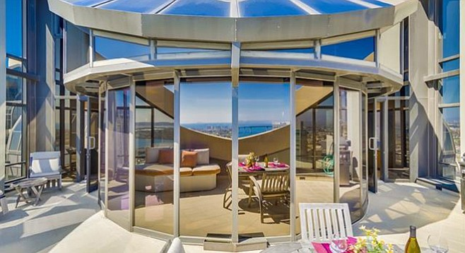 """Patio's """"wind-breaking walls which only enhance the dramatic atmosphere."""""""