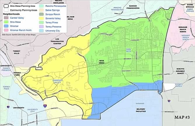 A city map shows borders of both the Mira Mesa community planning area and neighborhood boundaries for Sorrento Valley and Miramar.
