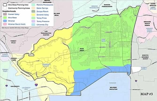 Photo A city map shows borders of both the Mira Mesa community