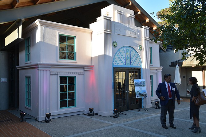 """At a UCSD reception in September, a smaller version of the """"City Hall"""" storefront that will be installed at the center was unveiled."""