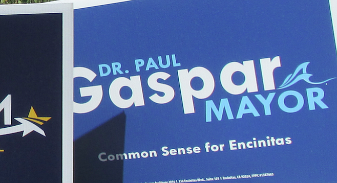 """""""In his mayoral campaign, [Gaspar] uses the singular term 'Dr.' in all of his literature...."""""""