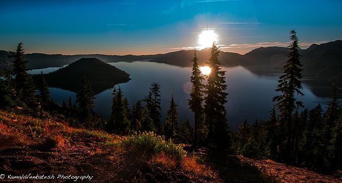 Sunrise on Crater Lake, central Oregon