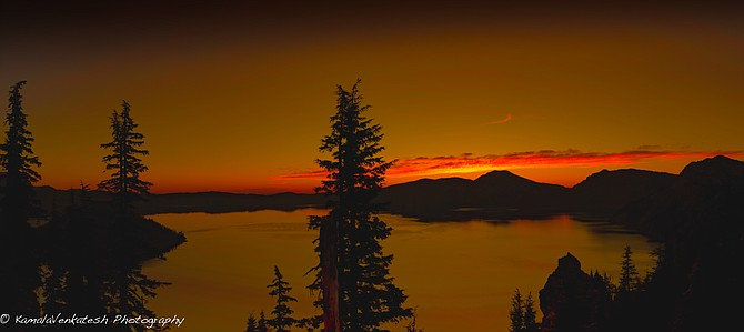 Sunset on Crater Lake in central Oregon