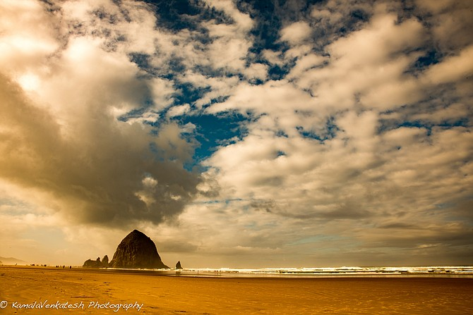 The famous Haystack in Cannon Beach along the Oregon Coast