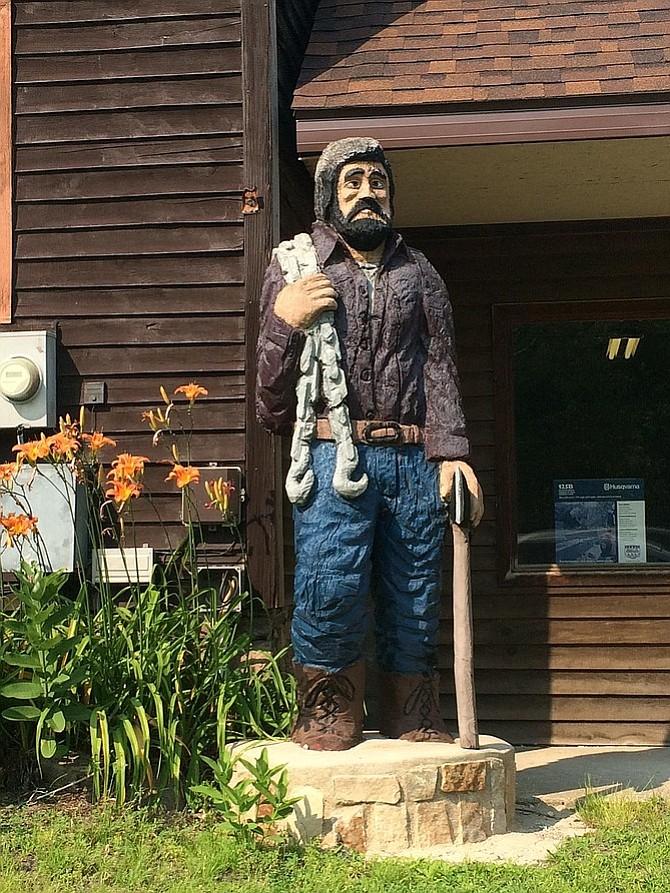 Paul Bunyan–like statue greets visitors to the Adirondacks.