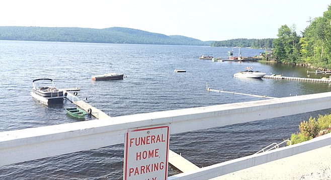Pretty gorgeous hearse parking at Schroon Lake.