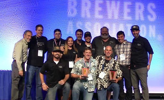 Team Karl accepts the not quite right brewer of the year award at the 2016 Great American Beer Festival.