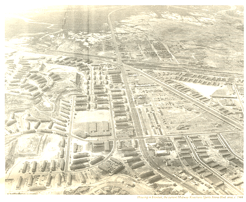 Aerial shot of Frontier housing, 1944