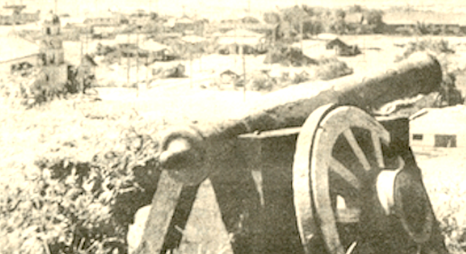 El Jupiter at Presidio Park, c. 1928. Engraved on it is the year (1783) and the location (Manila) of casting.