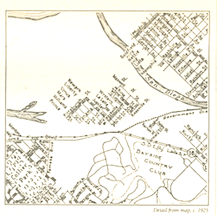 Map, 1923.  During the land boom of the mid-'20s, some speculators renamed the golf course the Bayside Country Club and proposed to build a surrounding development of posh homes.