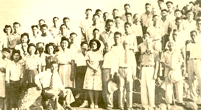 San Diego internees, Poston, Arizona, mostly old people and children. - Image by Collection of Donald Estes