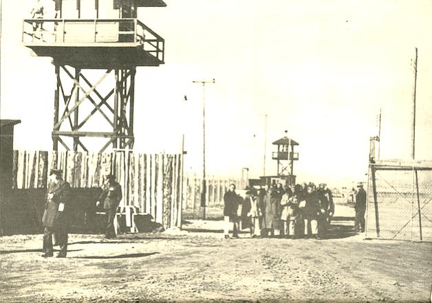 Santa Anita racetrack assembly area, 1942