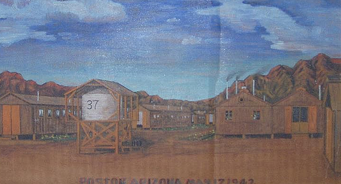 Poston internment camp, 1942 — painted by intern on cardboard.