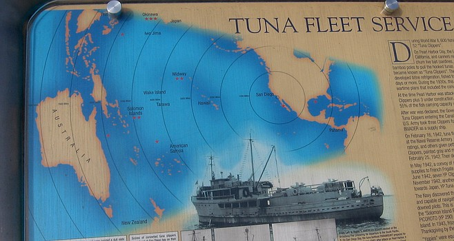 Sign at Tuna Harbor showing WWII tuna fleet.