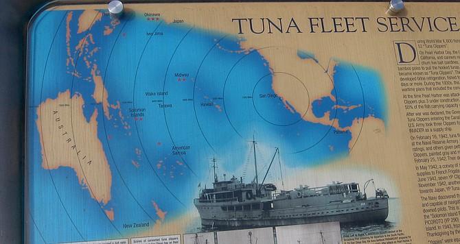 Sign at Tuna Harbor showing WWII tuna fleet.