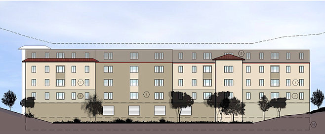 Image of the west side of the proposed building at 5030 College Avenue before changes.