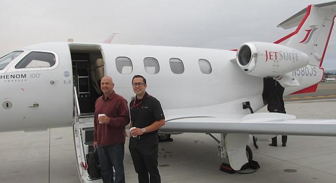 Dennis Kish of Rancho Santa Fe and pilot Rick Barreto