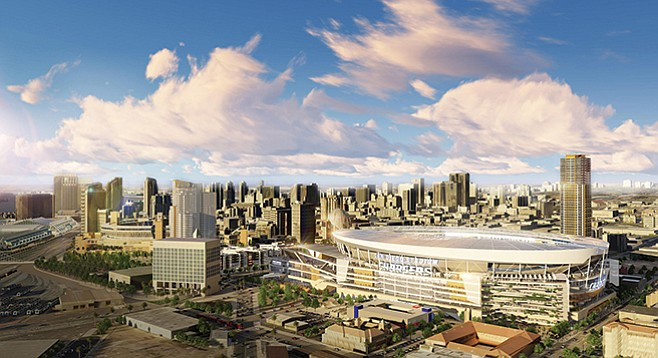 Stadium skyline: Rendering of proposed downtown stadium that would come with Measure C.