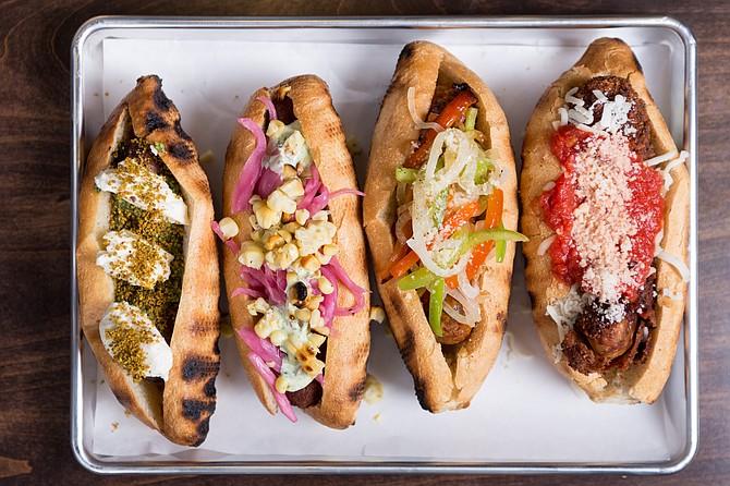 Sausage sandwiches on display