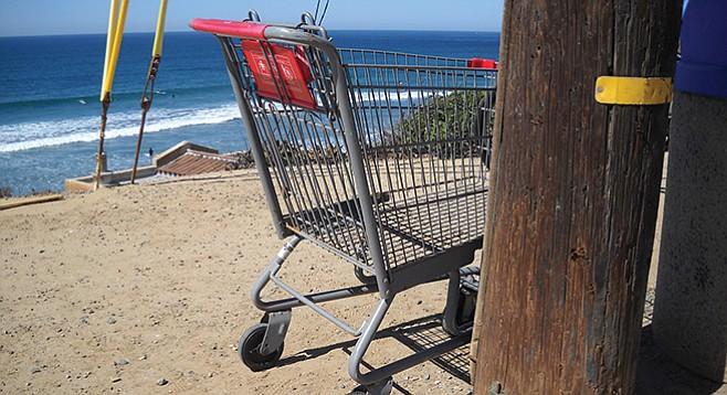 Beached shopping cart