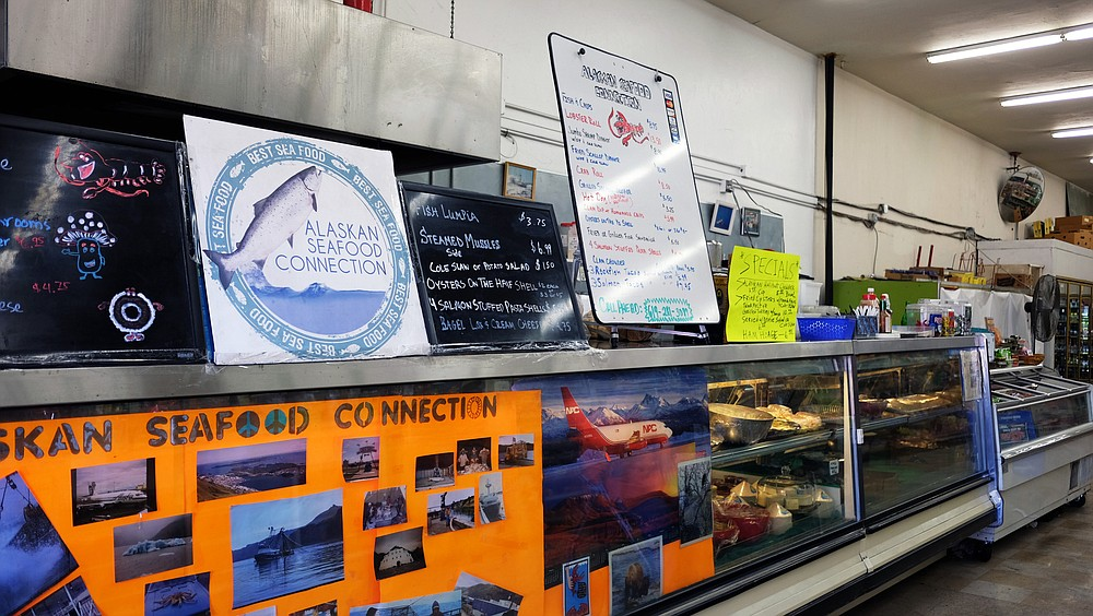 Seafood counter inside a liquor store