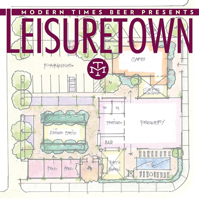 Early layout concept for Modern Times' Anaheim sour brewery and entertainment complex, aka Leisuretown.