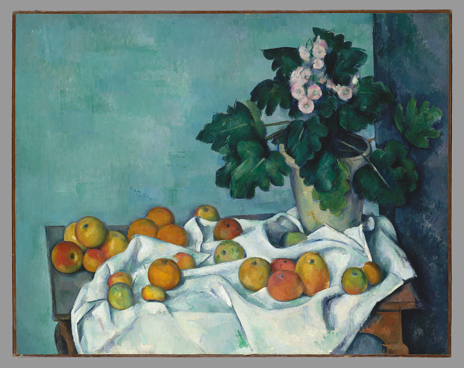Still Life with Apples and a Pot of Primroses, Paul Cézanne