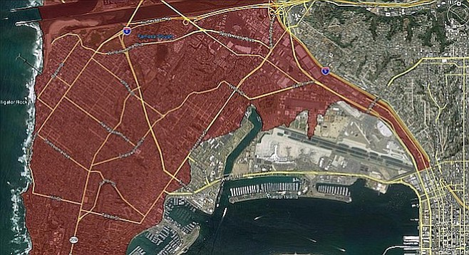 The red indicates the Point Loma/Ocean Beach area subject to the 30-foot height limit.