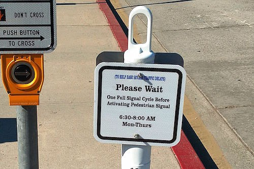 New signage at crosswalk