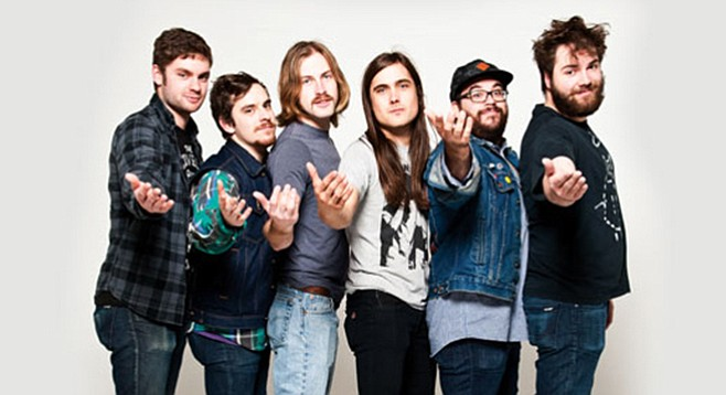 Diarrhea Planet guitarist/singer Jordan Smith (white T-shirt) claims Smashing Pumpkins as his all-time favorite band.