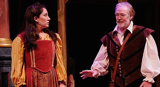 Catie Grady (as Judith) and Robert Smyth (as Shagspeare)