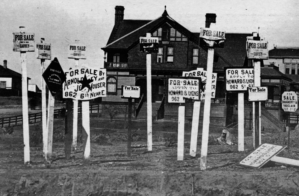 Evidence of the San Diego real-estate bust, 1889. An economic depression swept over the nation, and Southern California was particularly hard hit.