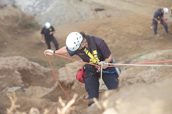 Prestegard trains for cliff rescues at Ladera Park in Sunset Cliffs