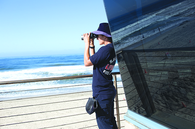 Amber Prestegard outside the Pacific Beach Lifeguard Tower