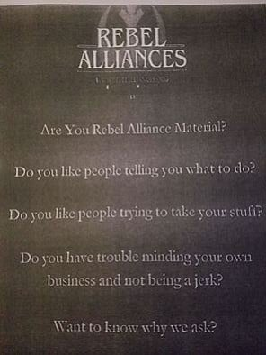 Front of one Rebel Alliances flier