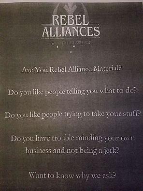 Front of one Rebel Alliances flier