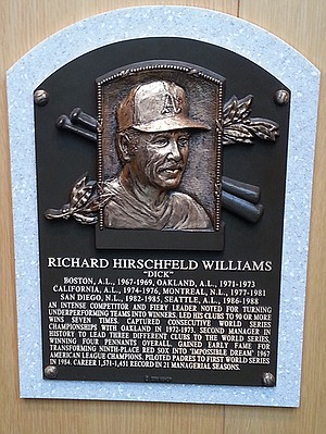 Dick Williams's plaque at the National Baseball Hall of Fame and Museum