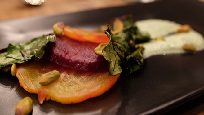 Beets, pistachios and green goddess dressing highlight the salad course at culinary hedonism.
