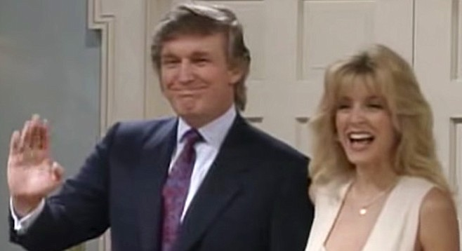 Donald Trump and the second Mrs. Kane, Marla Maples, visit The Fresh Prince of Bel-Air.