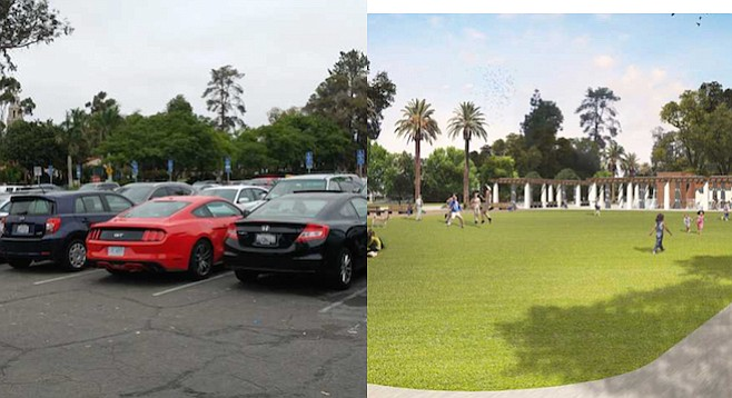 Before: parking lot behind organ pavilion; after (?): green space atop underground parking structure