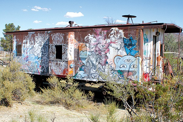 A painted train car by Telemagican Artists.