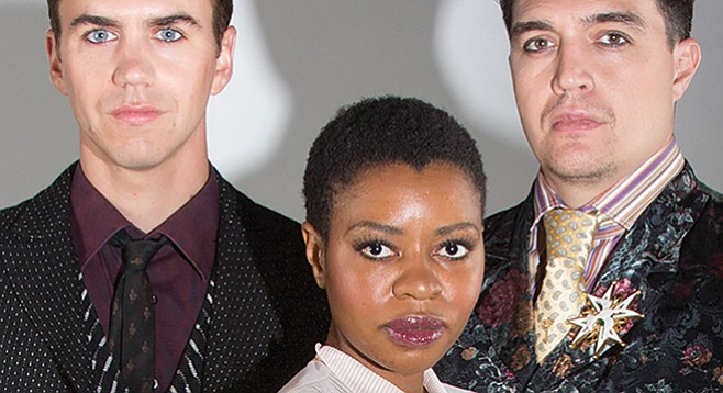 Daniel Petzold, Mahka Mthembu, and Christopher Salazar (from left) in Measure for Measure