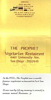 Business card from the Prophet restaurant, circa 1970s.