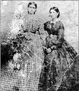 "Adelaide Serrano Hayes and Rosa Serrano Cassidy, c. 1867. ""Even the Spanish ladies smoked cigaritas between dances."""